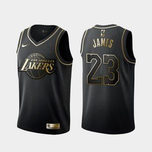 Los Angeles Lakers LeBron James Black Gold Jersey